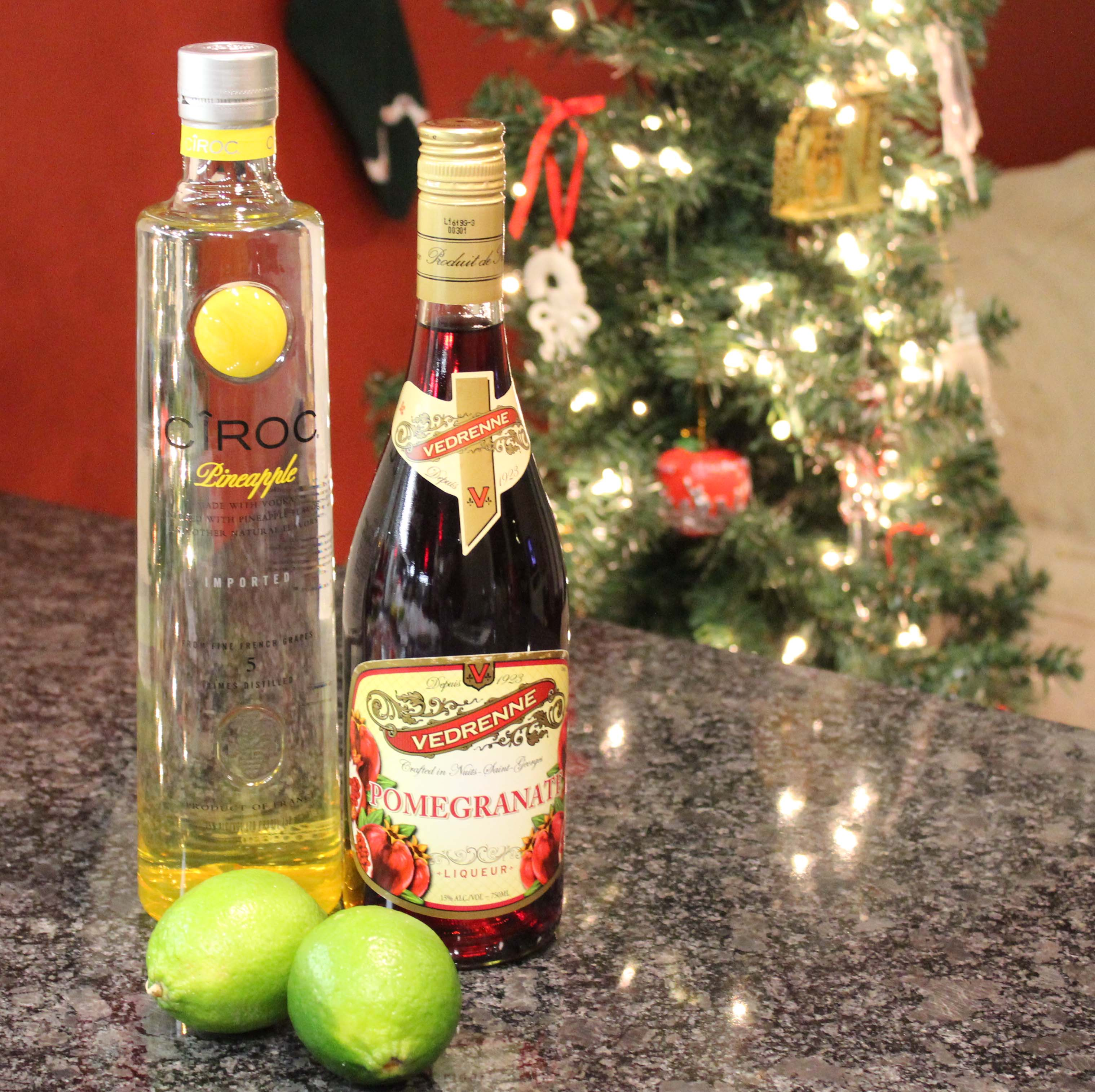 Ciroc Pineapple and Vedrenne Pomegranate Liqueur